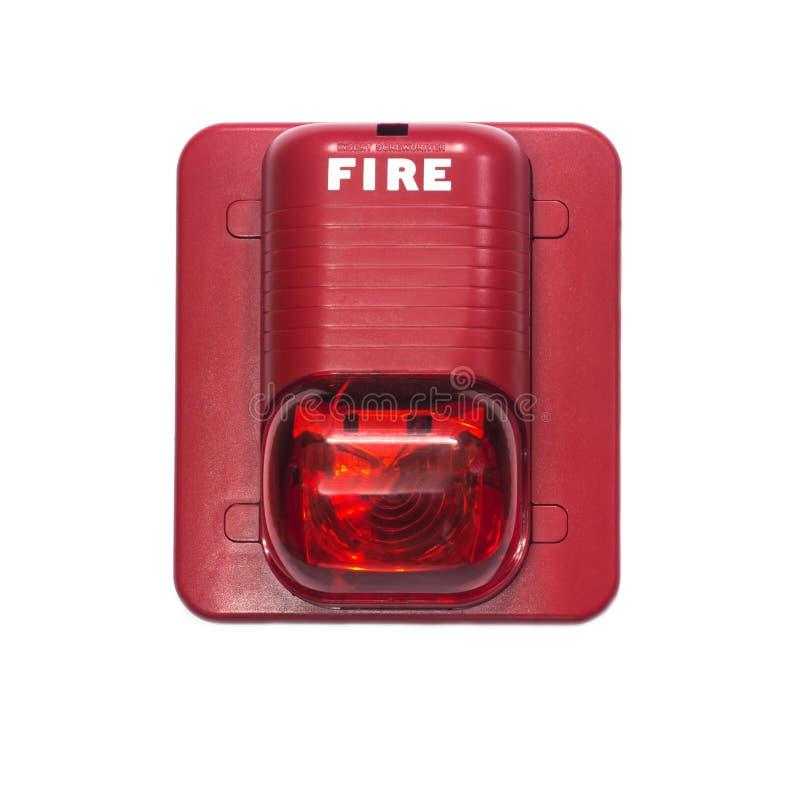 Pożarniczy alarm z budujący w stroboskopu świetle ostrzegać w przypadku ogienia fotografia royalty free