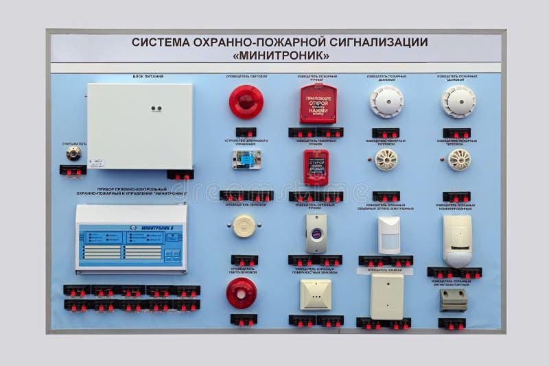 Pożarniczy alarmowy system Minitronik zdjęcia stock