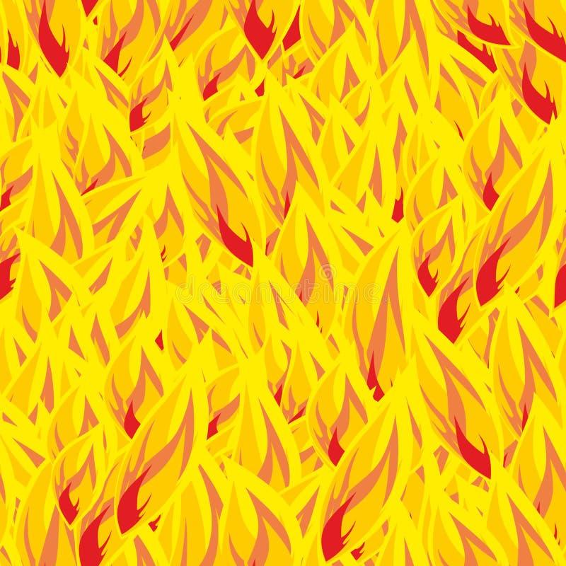 pożarniczy deseniowy bezszwowy tła zbliżenia ogienia płomieni dym Płomień tekstura Gorący yel ilustracji