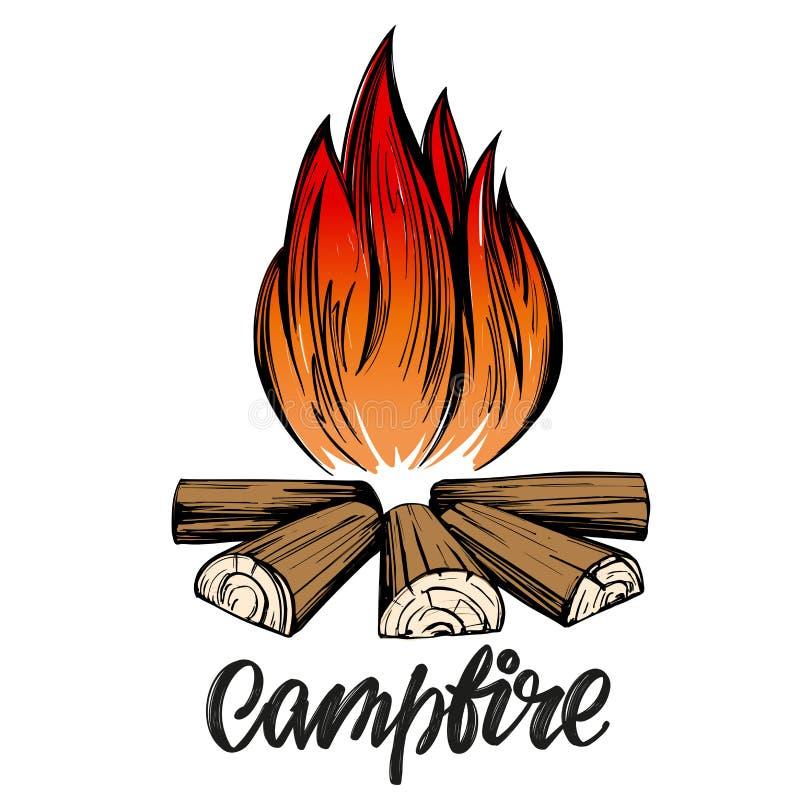 Pożarniczy emblemat, odpoczynek w lesie, obozuje kaligraficzny tekst, emblemata znak, ręka rysujący wektorowy ilustracyjny nakreś royalty ilustracja