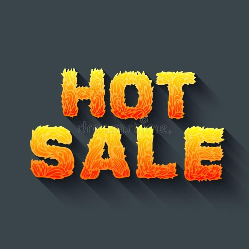 Pożarniczy gorący sprzedaż tekst na czerwonym tła pojęciu Wektorowa projekta pojęcia ilustracja ilustracja wektor