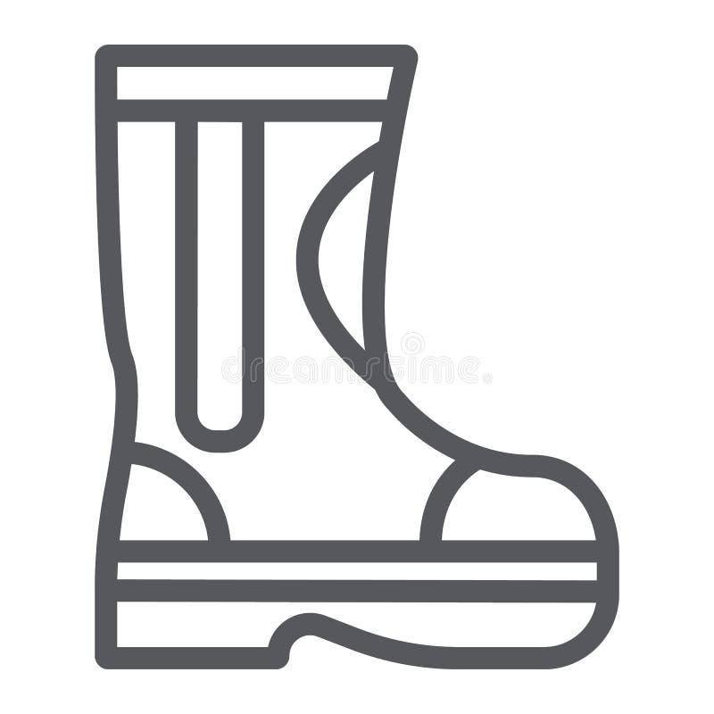 Pożarniczy gumowi buty wykładają ikonę i odziewają, palacz, strażak wektorowe grafika, liniowy wzór na bielu buty podpisują ilustracja wektor