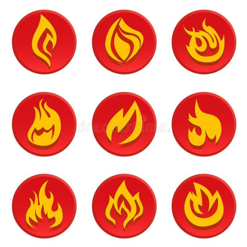 pożarniczy ikony setu wektor ilustracji