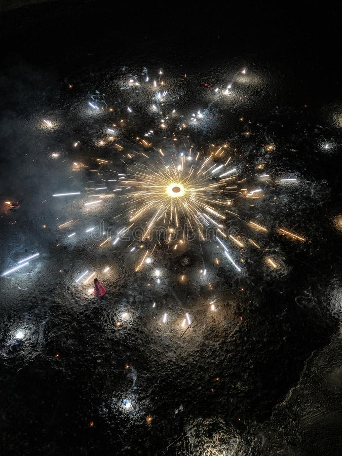 Pożarniczy krakersy podczas Diwali zdjęcie royalty free