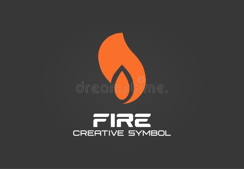 Pożarniczy kreatywnie symbolu pojęcie Energetycznego płomienia blasku abstrakcjonistyczny biznesowy logo Błyskowy gaz zapala, dym ilustracja wektor