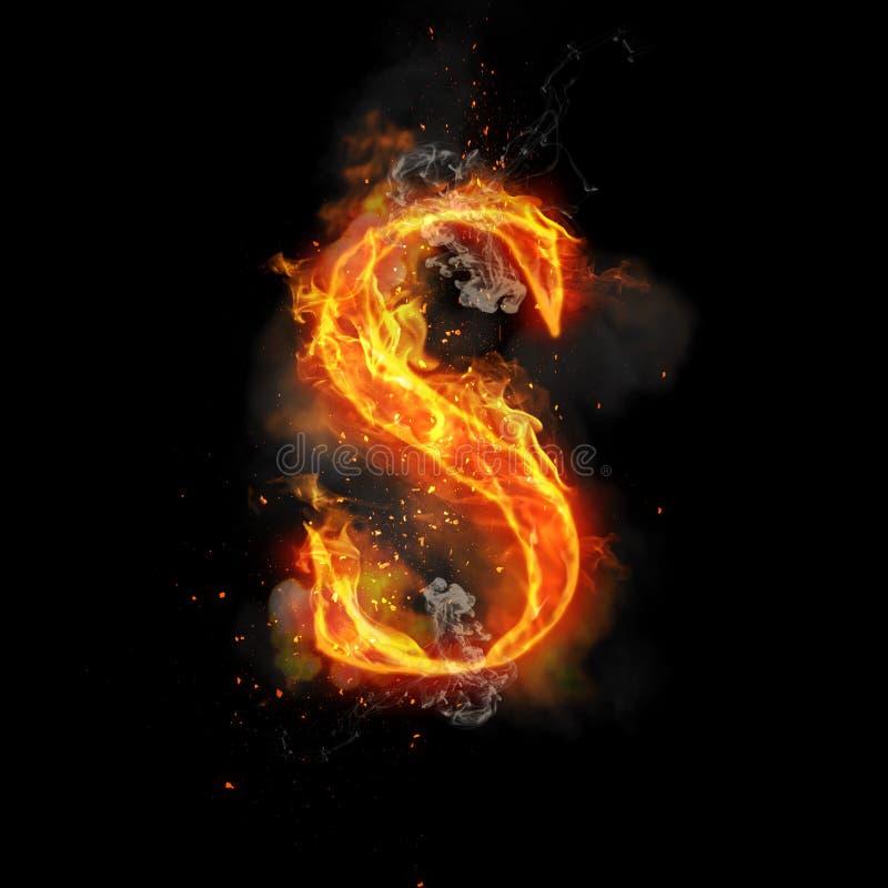 Pożarniczy listowy S palenie płomienia światło ilustracja wektor