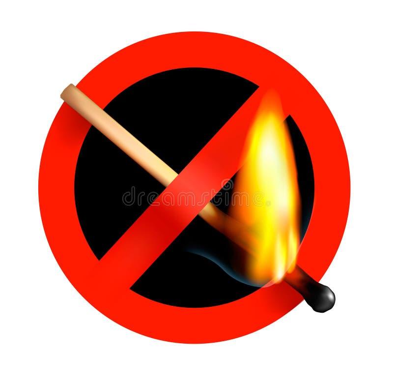 pożarniczy matchstick żadny szyldowy wektor ilustracji