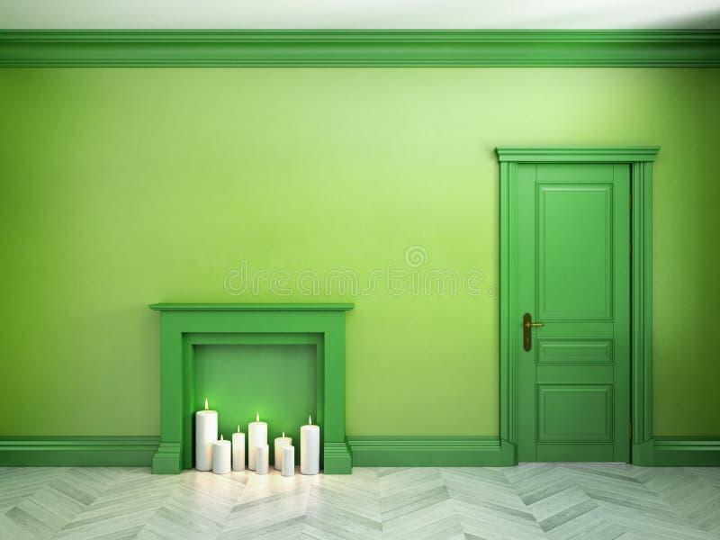 Pożarniczy miejsce, drzwiowy i parkietowy w klasycznym scandinavian zieleni wnętrzu ilustracja 3 d ilustracji