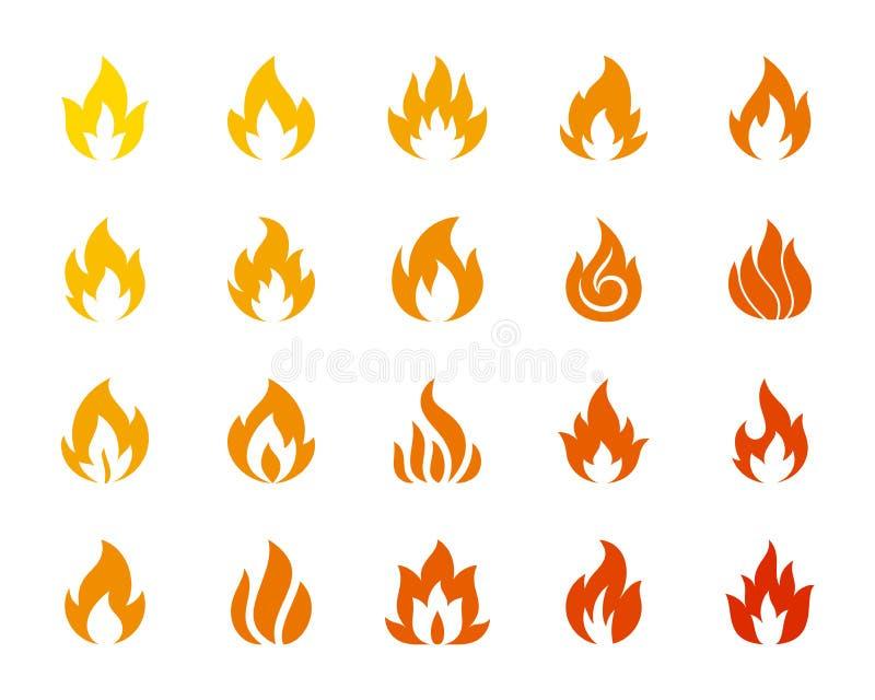 Pożarniczy ognisko płomienia sylwetki ikony wektoru set royalty ilustracja
