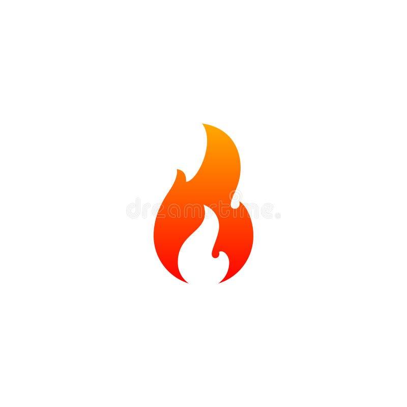 Pożarniczy płomień ikony wektoru szablon Gorący czerwony pomarańcze ogienia płomień dla ostrożności gorącego lub korzennego jedze ilustracji