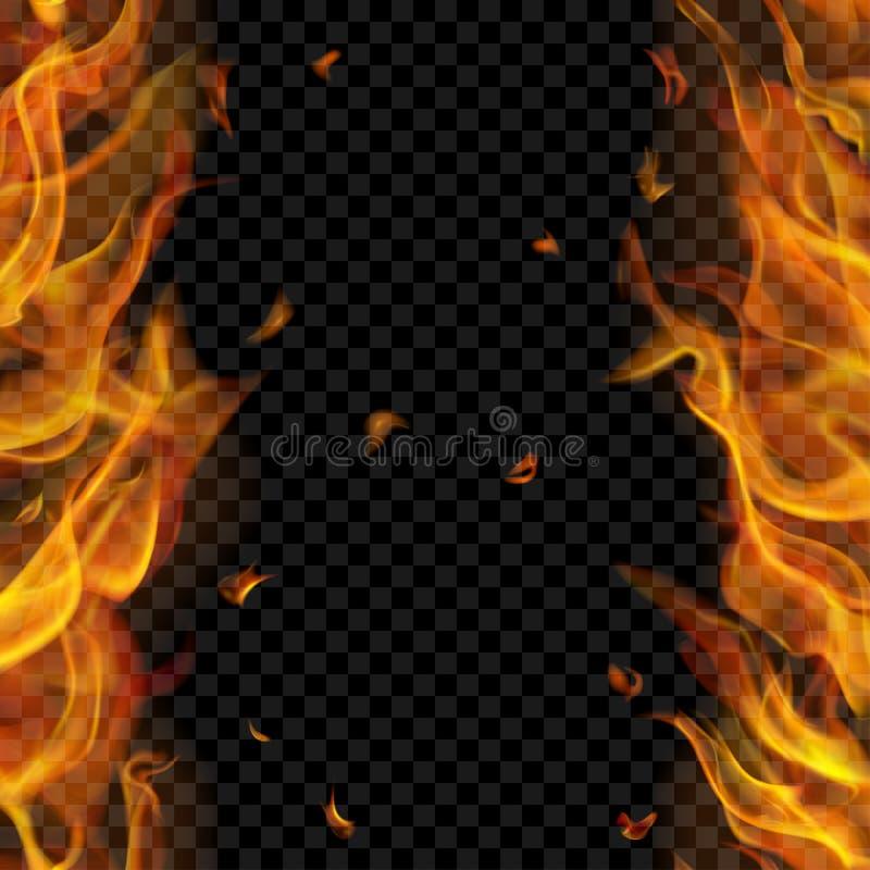 Pożarniczy płomień na dwa stronach z pionowo powtórką ilustracja wektor