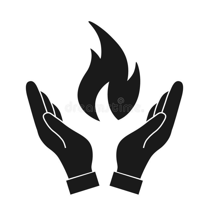 Pożarniczy płomień w ręce royalty ilustracja