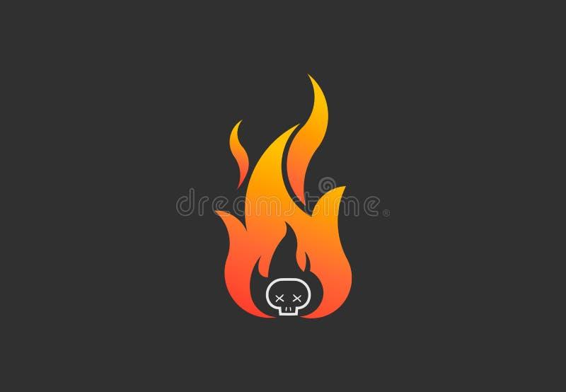 Pożarniczy płomień z czaszką Wektorowy loga symbol ilustracja wektor