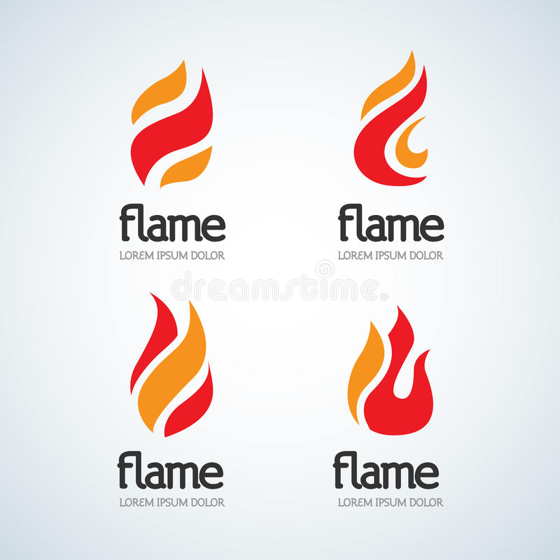 Pożarniczy płomienia loga projekta szablonu kropli sylwetki set Kreatywnie Kropelkowego oparzenie ogniska logotypu ogienia loga E royalty ilustracja