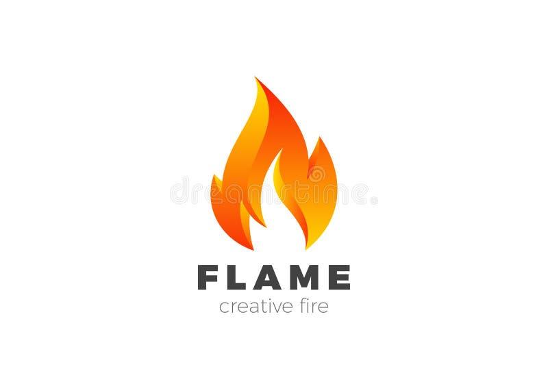 Pożarniczy płomienia loga projekta wektor Płonąca jatka Ene ilustracja wektor