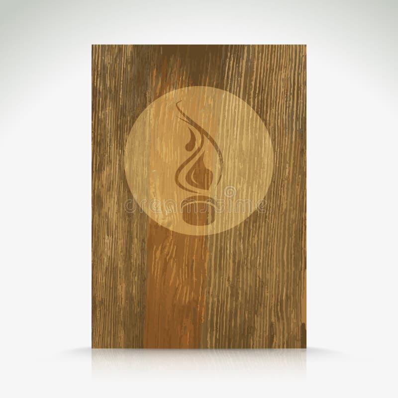 Pożarniczy płomienia oparzenie na drewnianej teksturze. royalty ilustracja