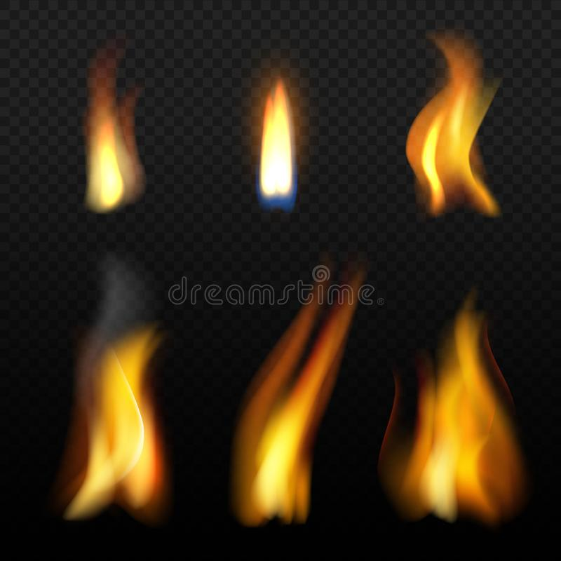 Pożarniczy płomienia szablon Realistyczny Fuego skutków blask świecy z pomarańcze dymu wektorowym realistycznym odosobnieniem ilustracja wektor