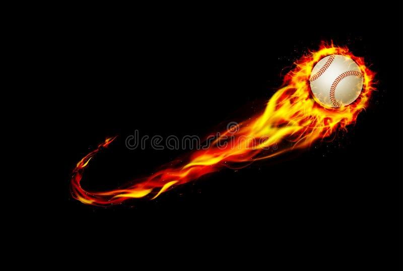 Pożarniczy płonący baseball z tła czernią ilustracji
