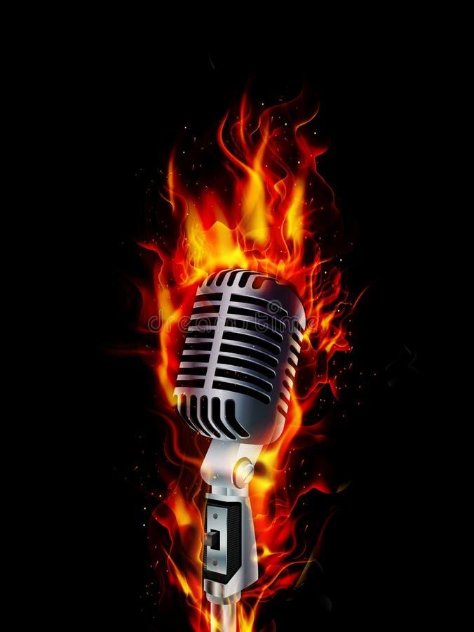 Pożarniczy płonący mikrofon z czarnym tłem ilustracji