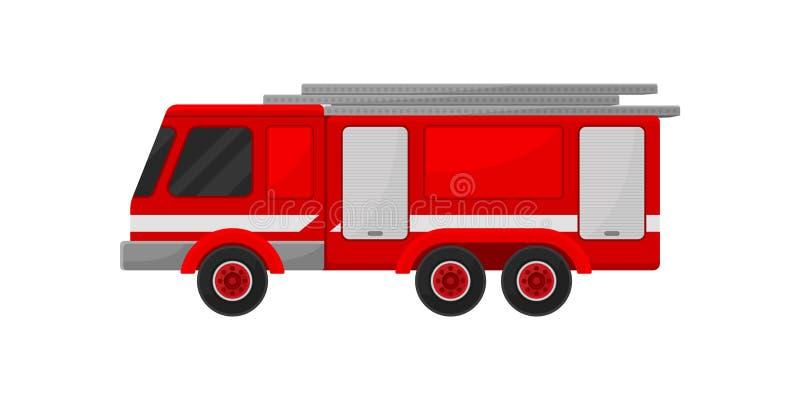 Pożarniczy przeciwawaryjny pojazd z teleskopową drabinową wektorową ilustracją na białym tle royalty ilustracja