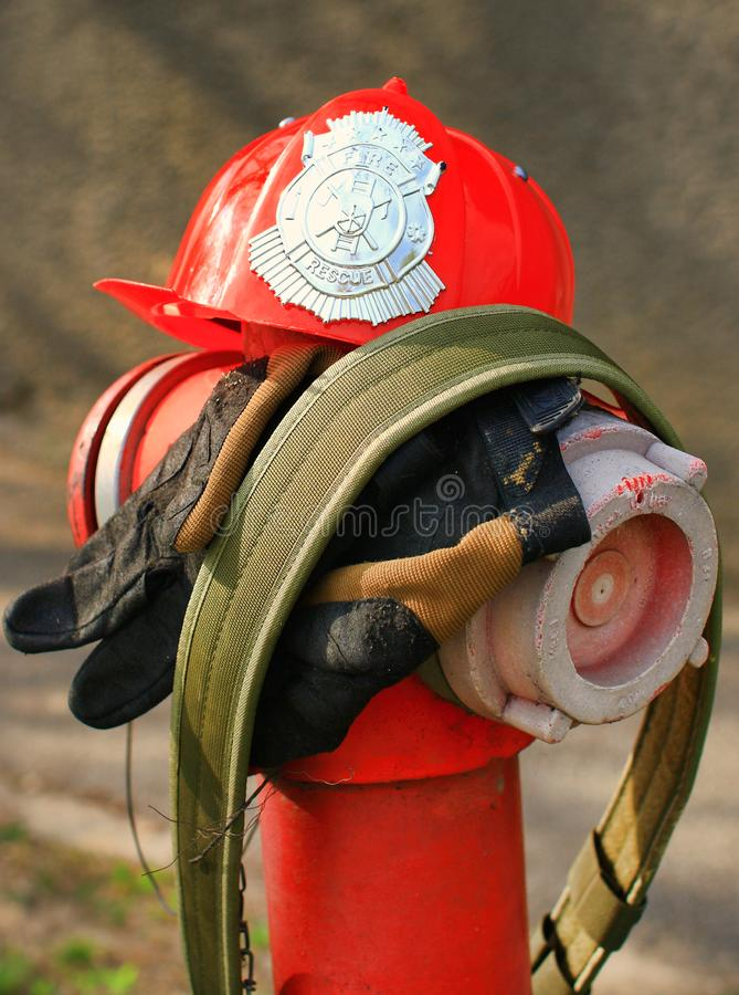 Pożarniczy ratowniczy strażaka hełm obraz royalty free