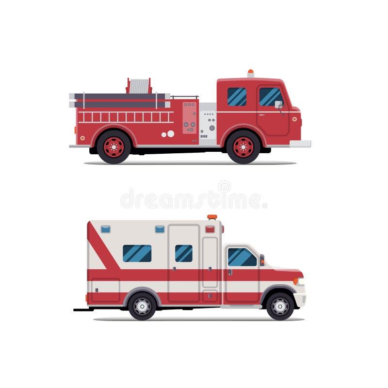 Pożarniczy silnik, karetka, Firetruck, wektor royalty ilustracja