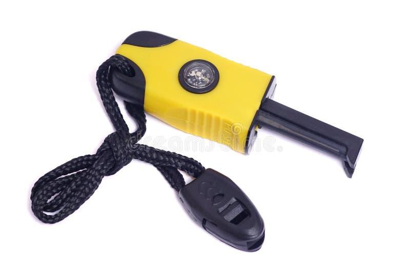 Pożarniczy starter z kompasem i gwizd zdjęcie royalty free