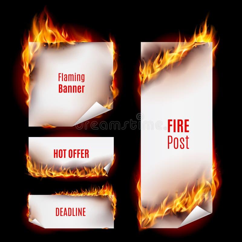 Pożarniczy sztandary ilustracji