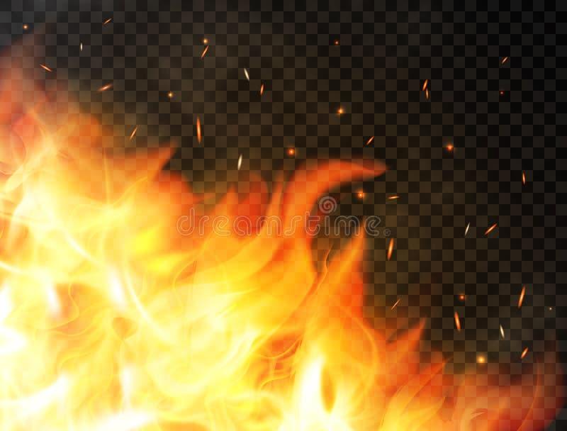 Pożarniczy tło z płomieniami, czerwonego ogienia iskrami, rozjarzonymi cząsteczkami i dymem, Realistyczni płomienie na przejrzyst ilustracji