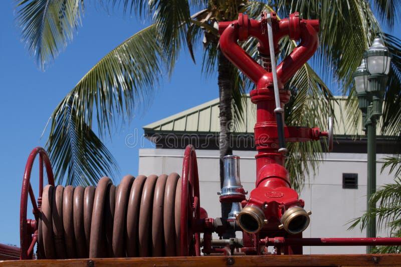 Pożarniczy wąż elastyczny & pompa zdjęcie royalty free