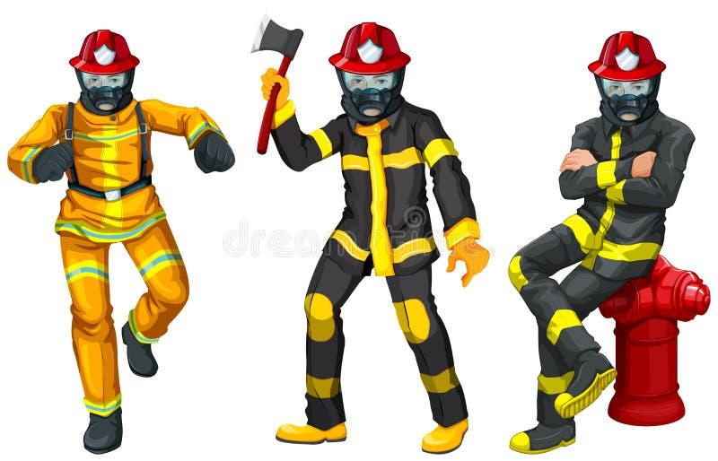 Pożarniczy wojownicy w mundurze ilustracji