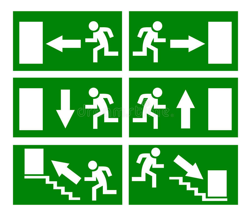 pożarniczy wyjście ewakuacyjne znaki ilustracji