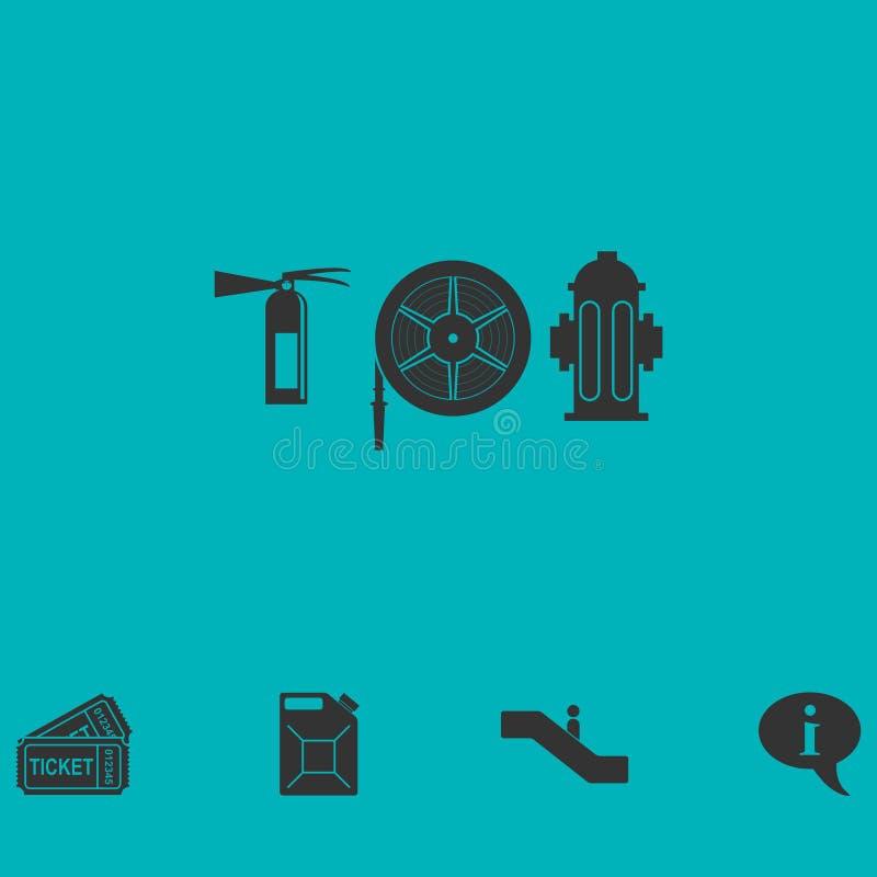 Pożarniczy wyposażenie ikony mieszkanie ilustracja wektor