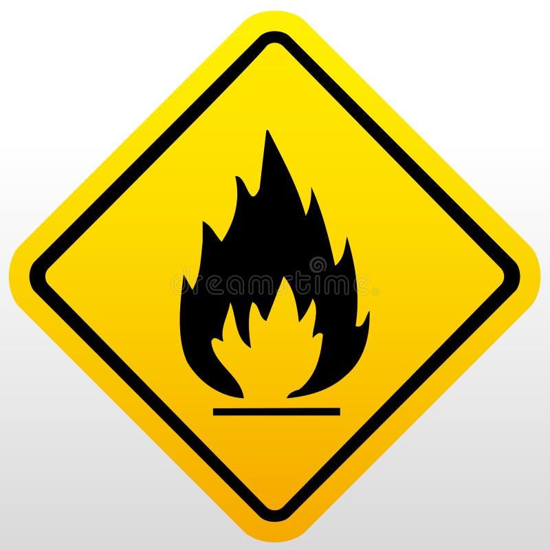 Pożarniczy znak ostrzegawczy ilustracja wektor