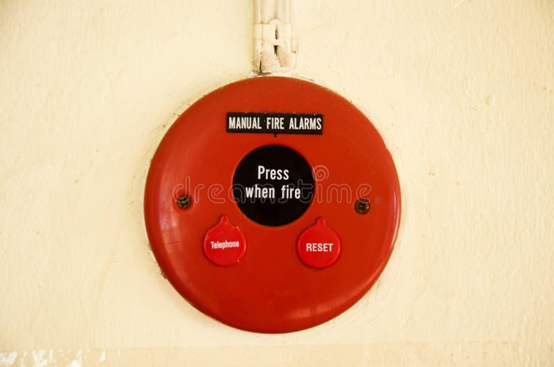 Pożarniczych alarmów system na ścianie obrazy stock