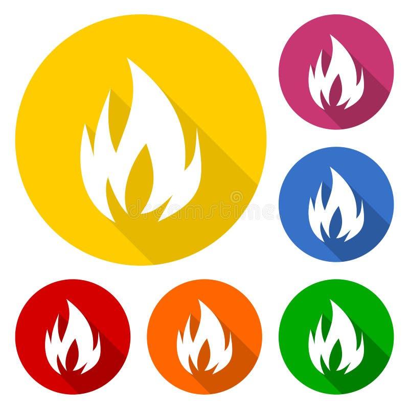 Pożarniczych symboli/lów ikona ustawiająca z długim cieniem royalty ilustracja