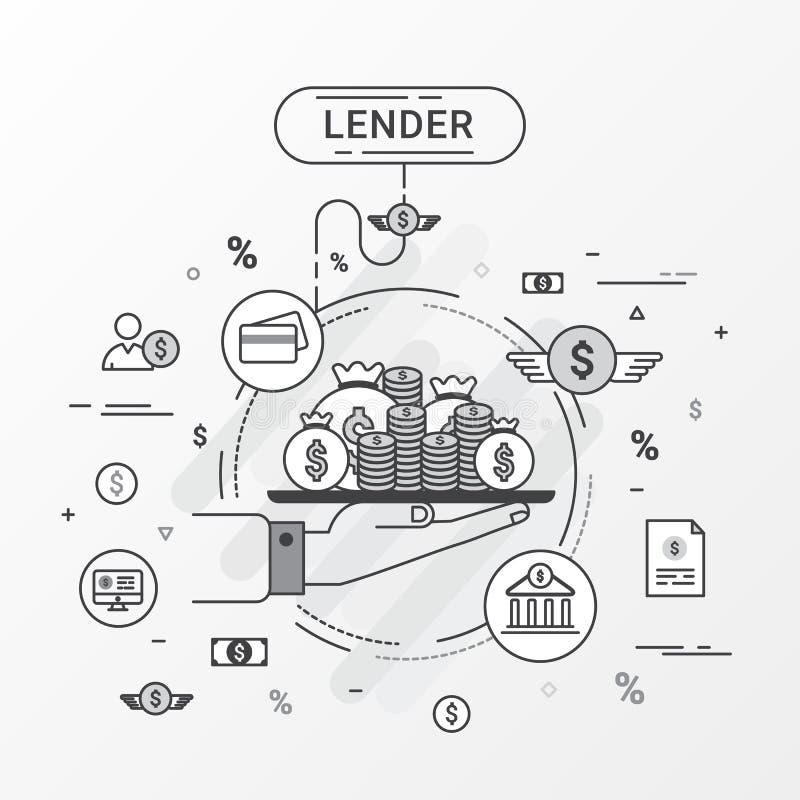 Pożyczkodawcy infographics pojęcie Pożyczkowy pożyczanie pieniądze od banka, osobistych pożyczek, kredytowej karty, organizaci lu ilustracji