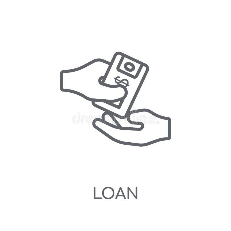 Pożyczkowa liniowa ikona Nowożytnego konturu logo Pożyczkowy pojęcie na bielu plecy royalty ilustracja