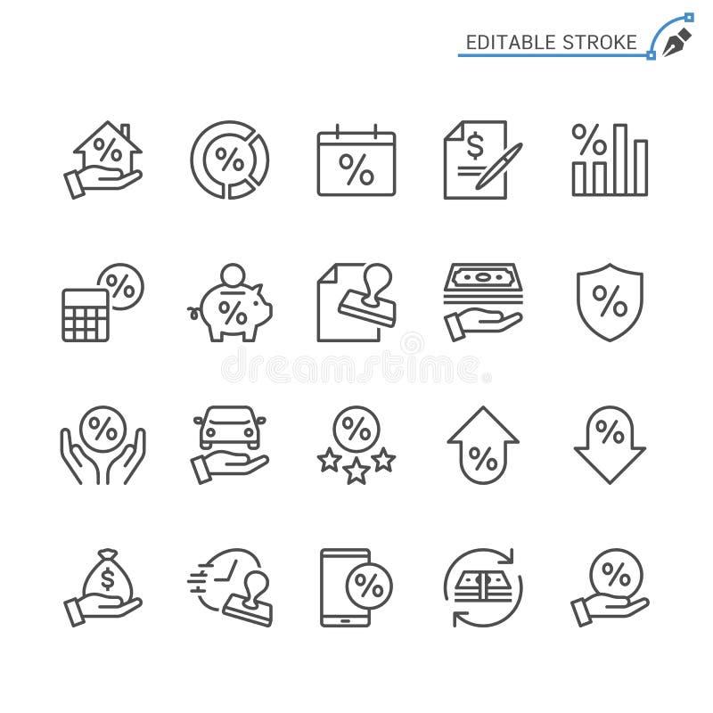 Pożyczkowy kontur ikony set royalty ilustracja