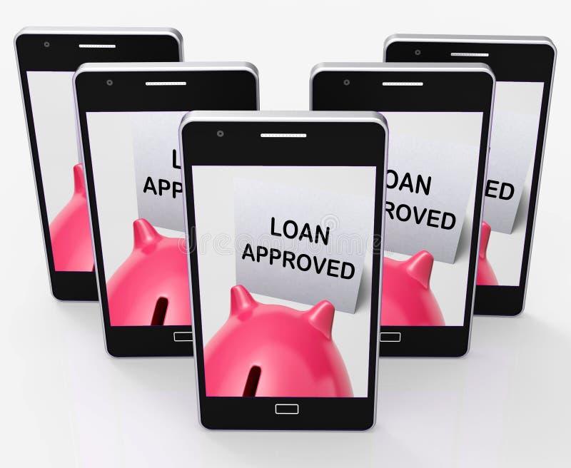 Pożyczkowy Zatwierdzony prosiątko bank Znaczy pożyczanie Upoważniającego ilustracja wektor