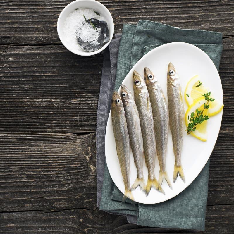 Pożytecznie mała denna ryba Wytapia, sardynka, sardele zanim gotujący z solą, cytryna, masło, macierzanka na drewnianym tle obrazy royalty free