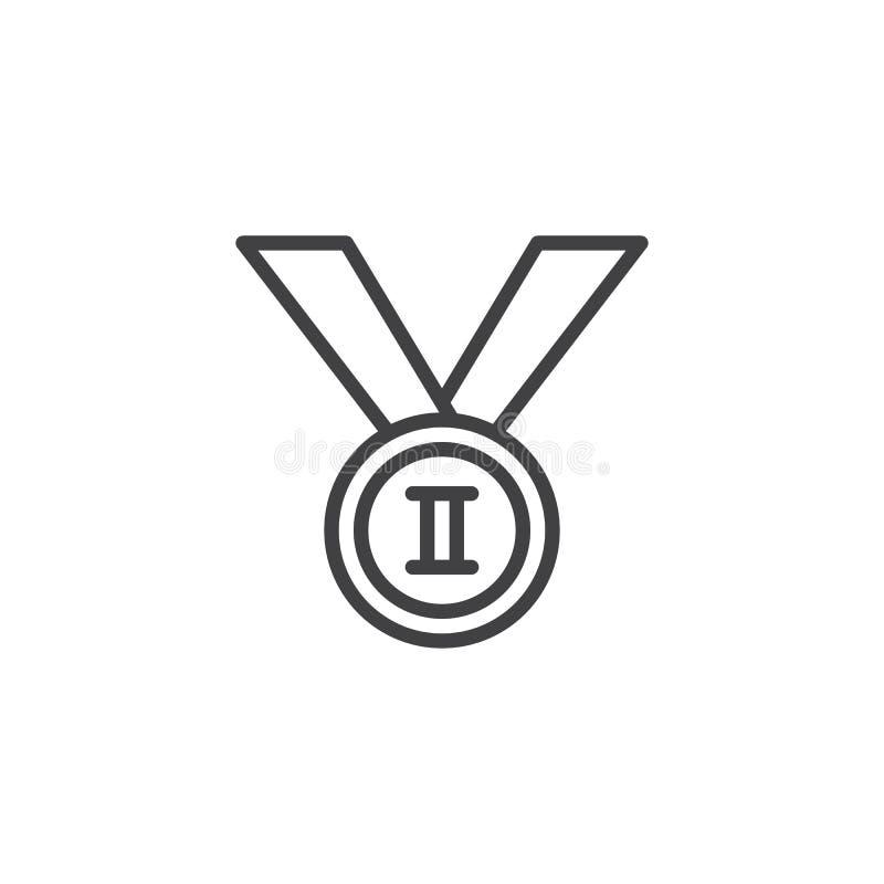 Po drugie miejsce medalu linii ikona ilustracji