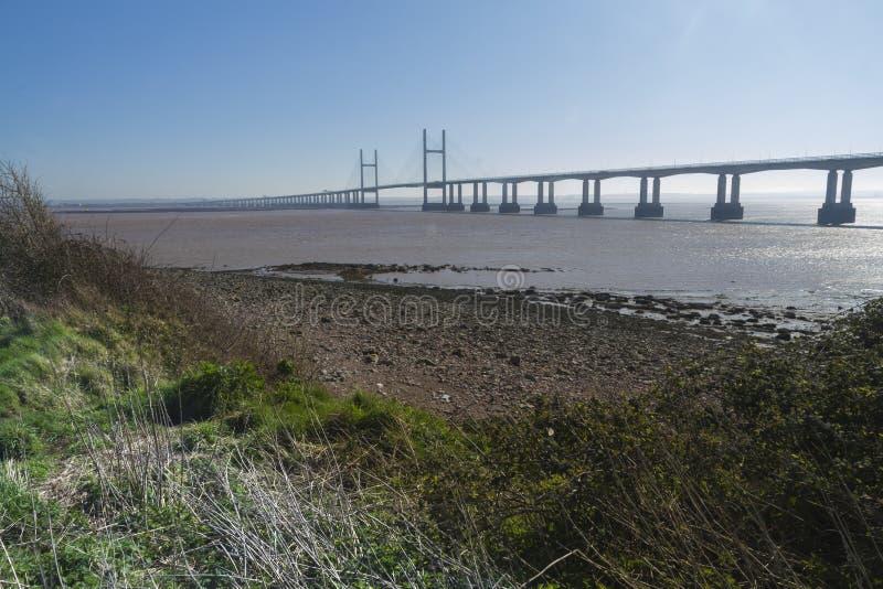 Po drugie Severn skrzyżowanie, most nad Bristol kanałem między Engl obraz stock