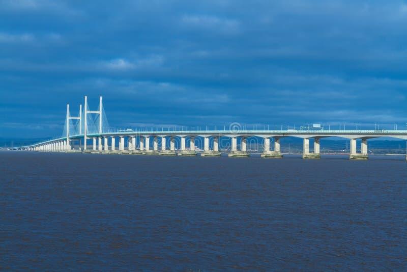 Po drugie Severn skrzyżowanie, most nad Bristol kanałem między Engl fotografia royalty free