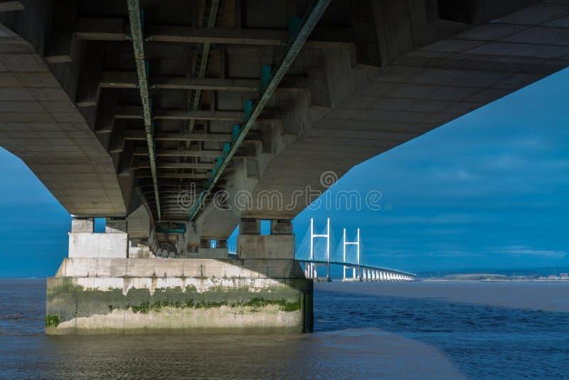 Po drugie Severn skrzyżowanie, most nad Bristol kanałem między Engl obrazy royalty free