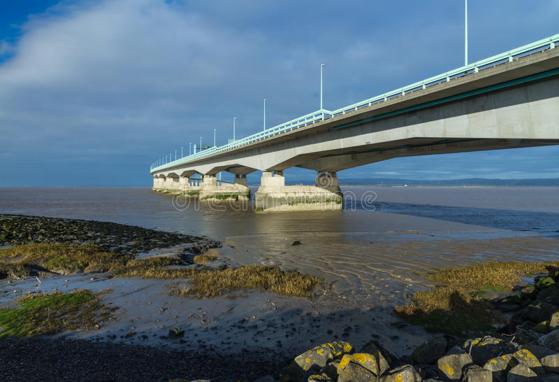 Po drugie Severn skrzyżowanie, most nad Bristol kanałem między Engl obraz royalty free