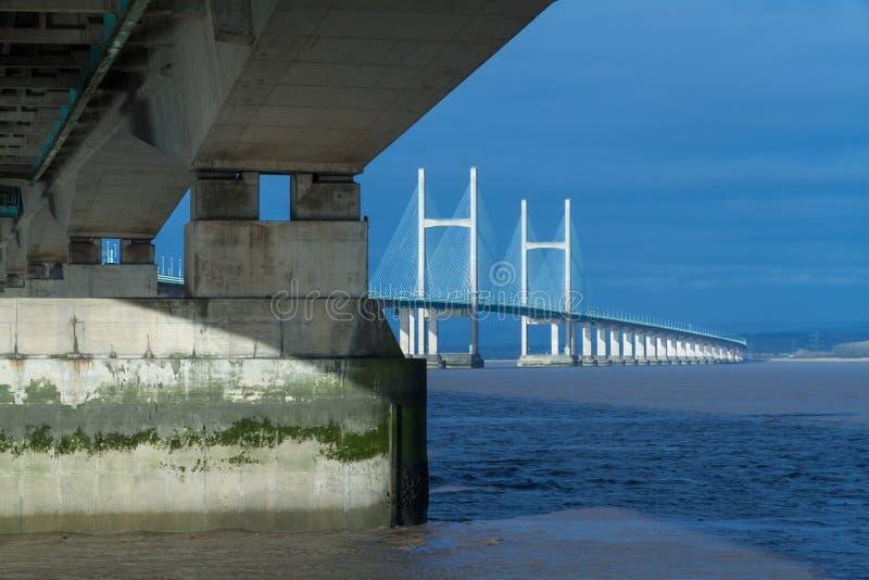 Po drugie Severn skrzyżowanie, most nad Bristol kanałem między Engl zdjęcie royalty free