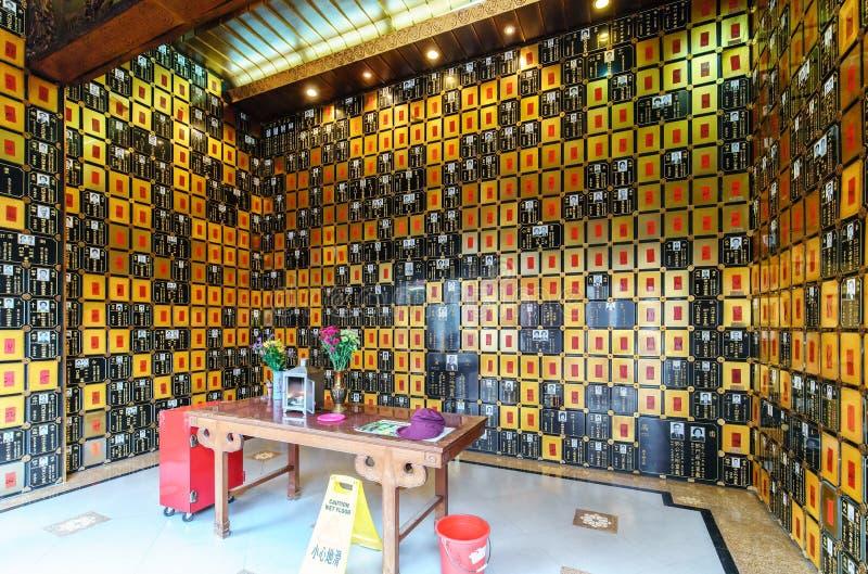 Po Fook мемориальный Hall в Гонконге могильник в Shatin Родовой взгляд интерьера ниши стоковые изображения rf