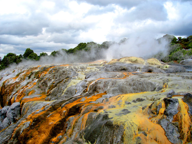 Po Hutu Geyser, Rotorua, New Zealand royalty free stock image