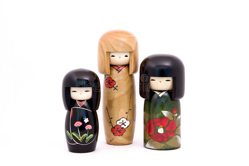 po japońsku kokeshi lalki. zdjęcie royalty free